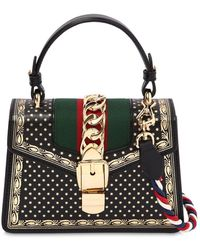 Gucci - Small Sylvie Guccy & Stars Leather Bag - Lyst