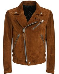 Tom Ford Veste Biker En Daim - Marron