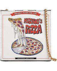 """Moschino Schultertasche Aus Leder """"pizza Box"""" - Weiß"""