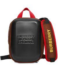 Burberry Fronttasche aus Nylon mit Gurtriemen und geprägtem Logo-Panel - Schwarz