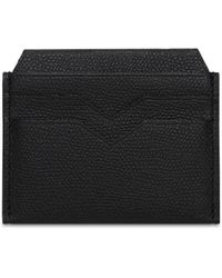 Valextra Grained Leather Card Holder - Black