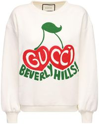 "Gucci ""beverly Hills"" Cherry Print Sweatshirt - White"