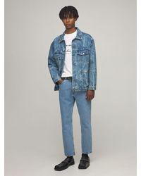Martine Rose Oversize Logo Print Cotton Denim Jacket - Blue