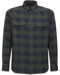 Tom Ford Camicia In Cotone Check - Blu