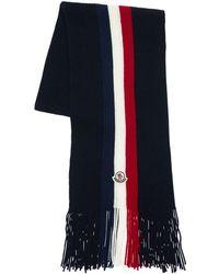 Moncler Stripe Wool Knit Scarf W/ Logo - Blue