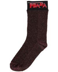 Prada Cotton Blend Lurex Net Socks - Multicolour
