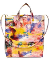 Comme des Garçons Futura 2000 Print Cotton & Pvc Tote Bag - Yellow