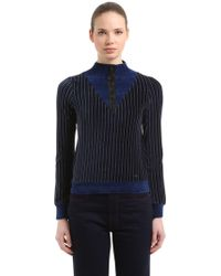 Sonia Rykiel - Pinstriped Velvet Half Zip Sweatshirt - Lyst