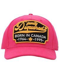 DSquared² Baseballkappe Aus Baumwollgabardine Mit Logopatch - Pink