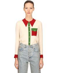 Gucci - Embellished Silk Satin Georgette Shirt - Lyst