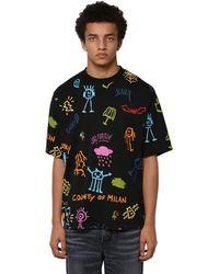 Marcelo Burlon Allover Print Over Cotton Jersey T-shirt - Черный