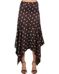 Ganni - Polka Dot Viscose Satin Long Skirt - Lyst