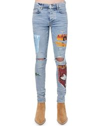 Amiri Jeans Playboy Magazine In Denim Di Cotone - Blu