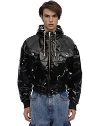 Versace Jeans Vinyl Coated Bomber Jacket - Black