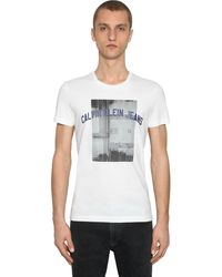 Calvin Klein T-shirt Aus Baumwolle Mit Druck - Weiß