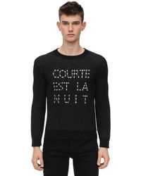 Saint Laurent Intarsia Crew Neck Jumper - Grey