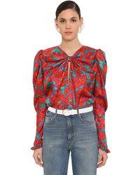 Magda Butrym L/s Printed Silk Satin Jacquard Top - Red
