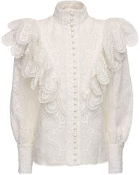 Zimmermann Embroidered Silk & Linen Shirt - White
