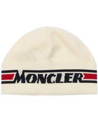 Moncler Шерстяная Шапка С Логотипом - Белый