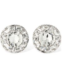 Alessandra Rich Crystal Circle Clip-on Stud Earrings - Metallic