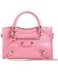 Balenciaga Mini City Croc Embossed Leather Bag - Pink