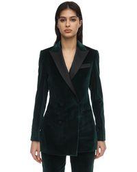 Elie Saab Double Breasted Velvet Blazer - Green