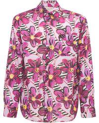 Marni Рубашка Из Хлопка С Принтом - Розовый