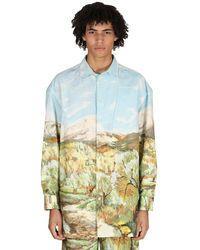 Jacquemus Shirts Oversize De Algodón Y Lino Con Estampado - Azul