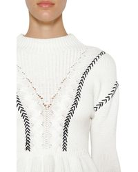 Self-Portrait - Ruffled Cotton Knitted Sweater - Lyst