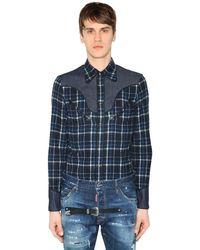 DSquared² ブラッシュドコットンフランネルシャツ - ブルー