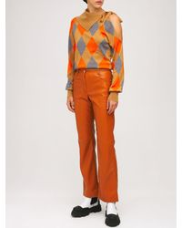 MSGM Superlight Argyle Patchwork セーター - オレンジ