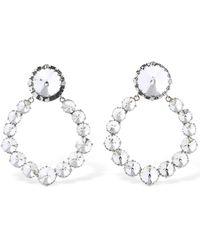 Alessandra Rich Circle Crystal Clip-On Earrings - Métallisé