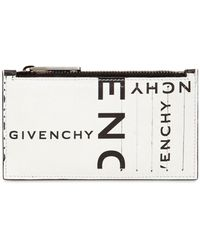 Givenchy Logo Printed Leather Zip Wallet - Black