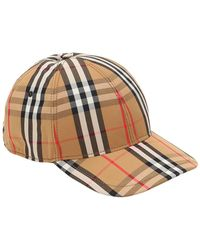 Burberry - Vintage Checked Cotton Baseball Cap - Lyst