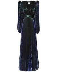 Givenchy Langes Kleid Aus Seidenmischlamé - Blau