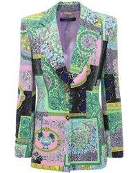 Versace Пиджак Из Вискозного Кади С Принтом - Зеленый