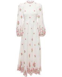Zimmermann Poppy Floral リネンキャンバスドレス - ホワイト