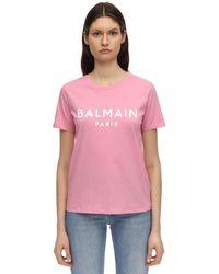 Balmain T-Shirt En Jersey De Coton Avec Logo Floqué - Rose