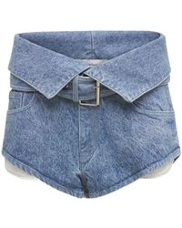 Marques'Almeida Organic Cotton Denim Mini Belted Shorts - Blue