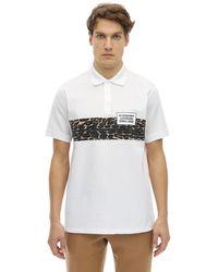 Burberry Polohemd Aus Baumwollpiqué Mit Druck - Weiß
