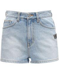 we11done Shorts Aus Baumwolldenim Mit Logo - Blau