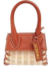 Jacquemus Le Chiquito Raffia & Leather Bag - Brown