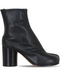 Maison Margiela 80mm Tabi Brushed Leather Ankle Boots - Black