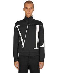 Valentino Trainingsjacke Aus Baumwollmischung Mit Vltn-logo - Schwarz