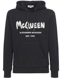 Alexander McQueen Хлопковый Свитшот С Капюшоном Graffiti - Черный