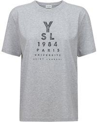 Saint Laurent Хлопковая Футболка С Принтом - Серый