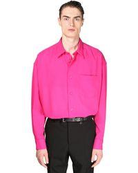 AMI オーバーサイズクレープウールツイルシャツ - ピンク