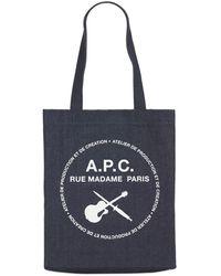 A.P.C. Tote Aus Denim Mit Logodruck - Blau