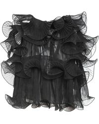 Alberta Ferretti Raw Ruffled Silk Chiffon Top - Black