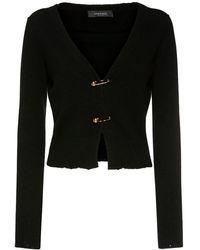 Versace Cardigan Cropped In Maglia Di Cashmere E Lana - Nero